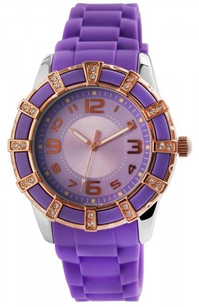 Attractive Q&Q Damenuhr mit Silikonband in violett