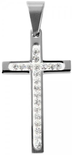Akzent Kreuz Edelstahlanhänger, silberfarbig, Länge: 35 mm / Breite: 20 mm / Stärke: 4 mm