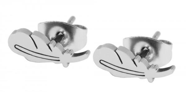 Akzent Edelstahl Ohrringe Feder, Länge: 1,1 cm Breite: 4 mm Stärke: 1 mm