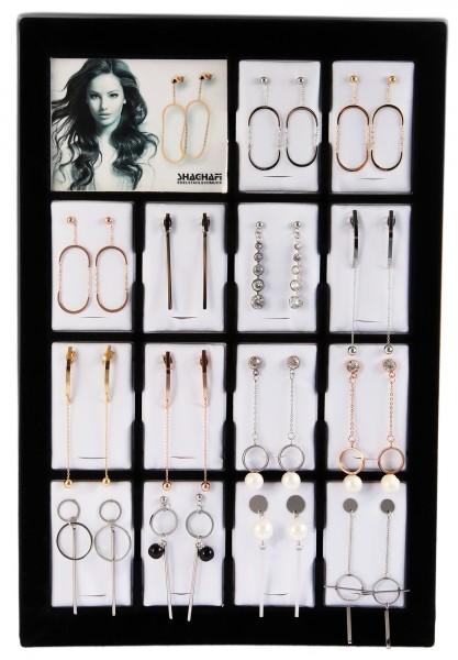 Display und / oder 14 Paar Ohrringe, Edelstahl, Mix