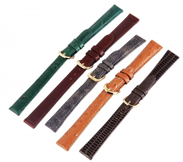 Echtleder-Uhrenarmbänder, verschiedene Farben, VE 12, 12 mm