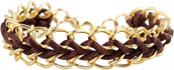 Akzent Kettenarmband aus Edelstahl und Textil mit IP Gold-Beschichtung