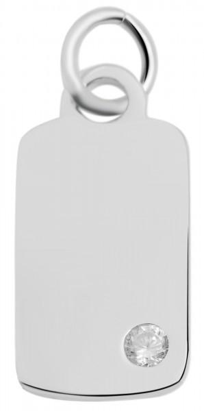 925 Echt Silber Gravuranhänger mit Zirkoniastein, ohne Kette, 925/rhodiniert