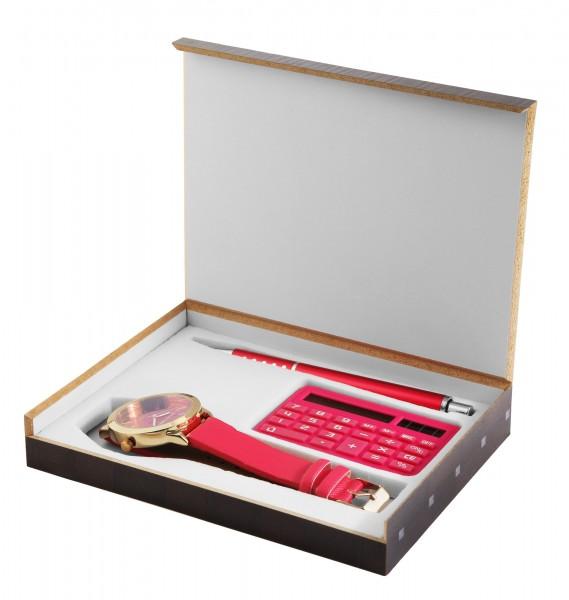 Excellanc Damenuhr mit Geschenkeset mit Taschenrechner und Kugelschreiber