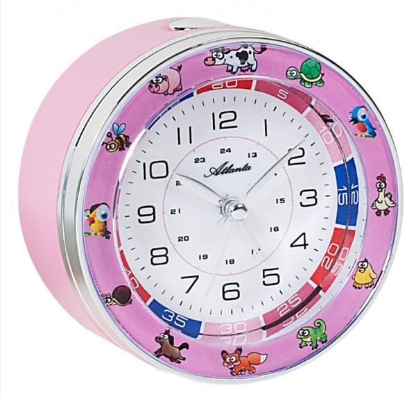 Quarz-Wecker für Kinder mit Tiermotiven in Rosa