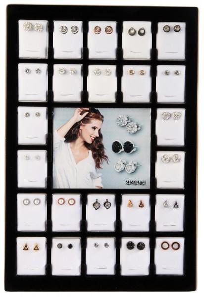 Display und/oder 24 Paar Ohrstecker, Edelstahl, Steinbesatz, Mix
