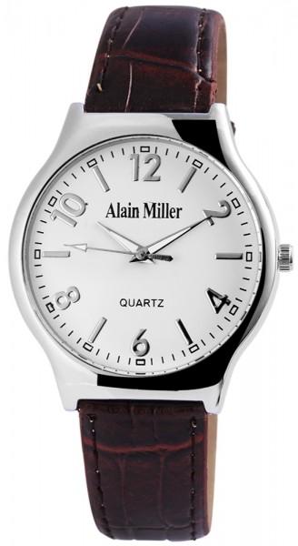 Alain Miller Herrenuhr mit Lederimitationsarmband