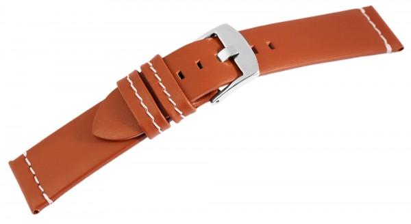 Echtleder-Uhrenarmband, hellbraun, weiße Naht, 18 mm - 24 mm