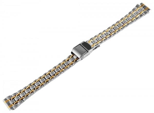 Edelstahl Uhrenarmband, silber/gold, 12 mm