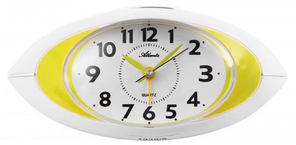 Farbige Tischwecker Quartz, weiß/grün, moderne Gehäuseform, schleichende Sekunde, Repetition, Licht,