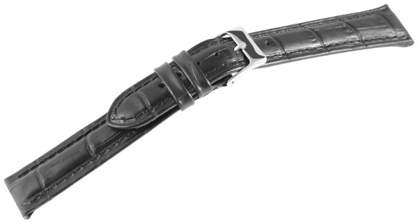 Echtleder-Uhrenarmband, schwarz, Krokooptik, 18 mm - 20 mm