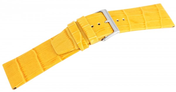 Echtleder Armband im gelben Alligatorlederdesign, flach, Dornschließe