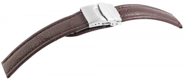 Echtleder-Uhrenarmband, dunkelbraun, Faltschließe, 16 mm - 22 mm