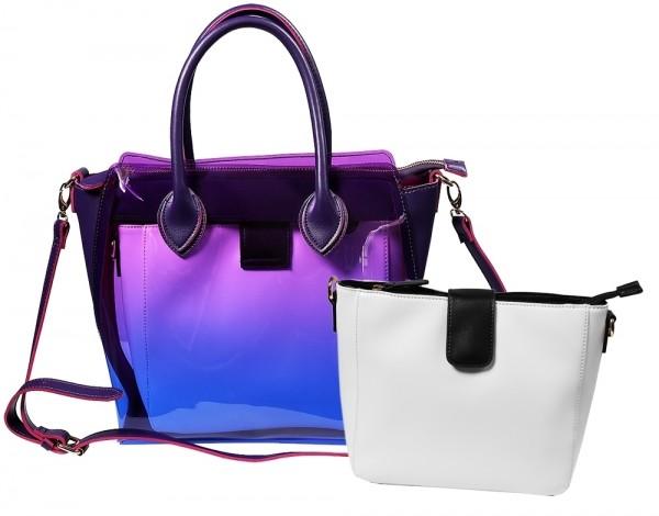 Damen Handtasche, Lila/Rot