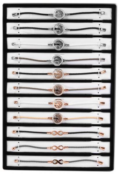 "Shaghafi 11 Armbänder Leder ""Damen Strass Motive"" im Display"