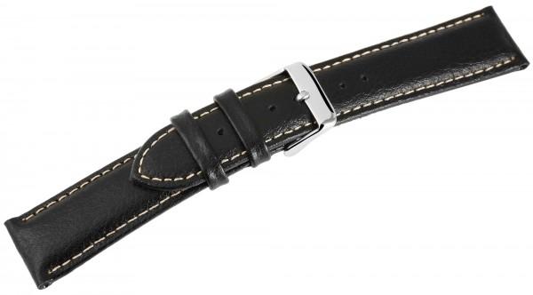 Echtleder Uhrenarmband, schwarz mit weißer Naht, 18 mm - 24 mm