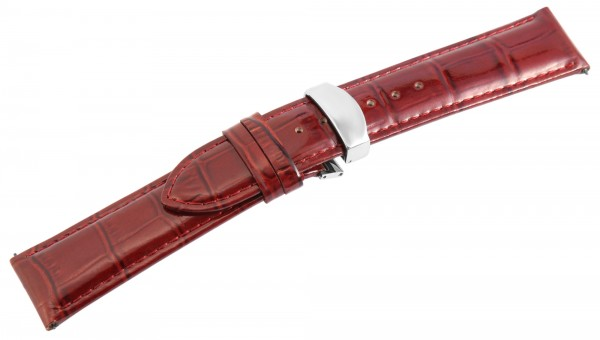 Echtleder-Uhrenarmband, braun, Butterfly-Faltschließe, 22 mm / 26 mm