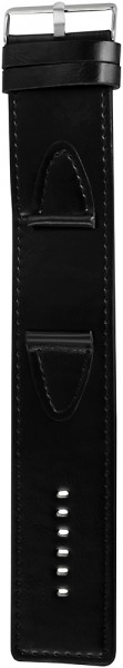 Basic Lederimitatarmband in schwarz, glatt, flach, 38 mm