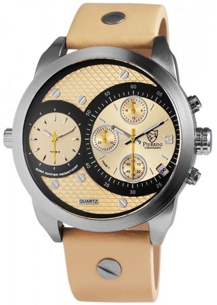 Pierrini Herrenuhr mit Oberseite Echtleder/ Unterseite Lederimitatarmband, Chronograph, 3-Zeiger Uhr