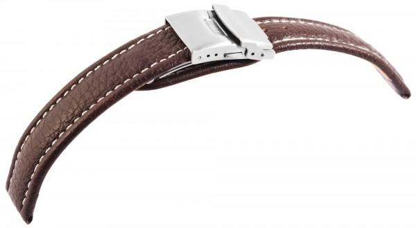 Echtleder-Uhrenarmband, braun, weiße Naht, Faltschließe, 16 mm - 18 mm