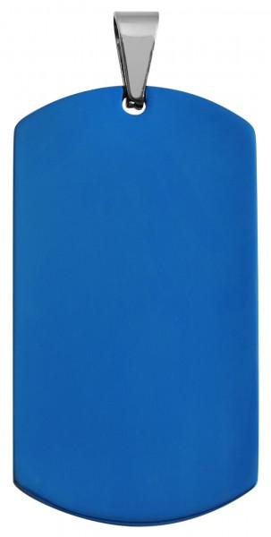 Akzent Edelstahl Gravuranhänger, IP plattiert, blau