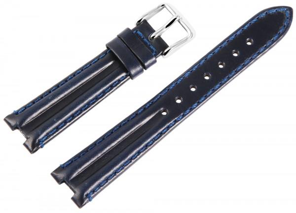 Echtleder-Uhrenarmband, dunkelblau, 16 mm