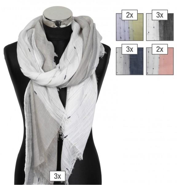 Schalpaket farblich sortiert, 100% Polyester, 85x200cm, VE 12, jeder Schal verkaufsfertig mit Bügel