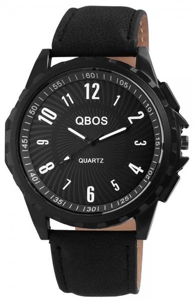 QBOS Herrenuhr mit Lederimitationsarmband