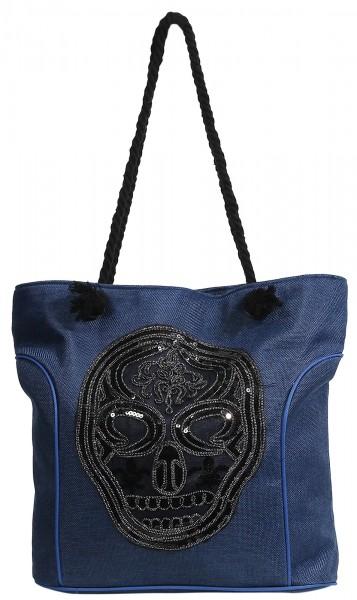 Damenhandtasche mit Totenkopfmotiv, 43,5 x 35 x 14,5 cm