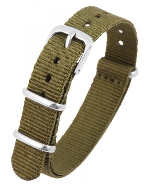 Nylon-Uhrenarmband, khaki, Dornschließe, 14 mm - 20 mm
