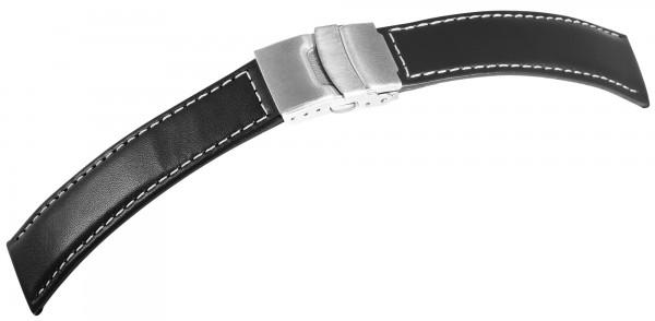 Echtleder-Uhrenarmband, dunkelblau, weiße Naht, Faltschließe, 18 mm - 22 mm