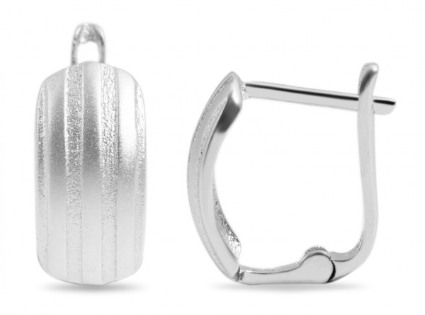 925 Echt Silber Klappcreolen in U-Form, mattiert, 925/rhodiniert