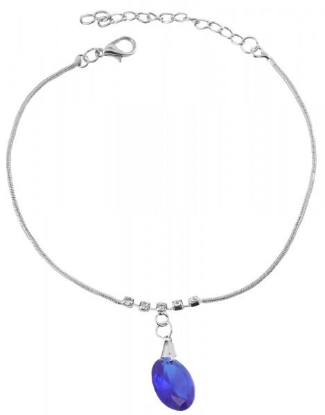 Modeschmuck Fußkettchen, silberfarbig mit blauen Steinen