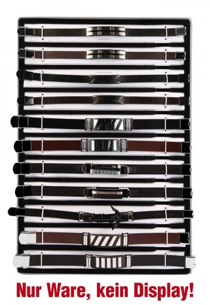 Display und/oder 11 Echtleder-Armbänder, Herren, Mix