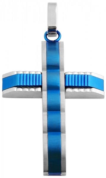 Akzent Kreuz Edelstahlanhänger mit IP Beschichtung, silberfarbig und blau