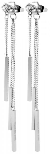 Akzent Edelstahl Ohrring mit Swarovski, Stab, Länge: 8 cm / Breite: 0,4 cm / Stärke: 0,2 cm