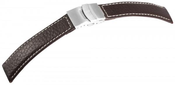 Echtleder-Uhrenarmband, braun, weiße Naht, Faltschließe, 18 mm - 22 mm