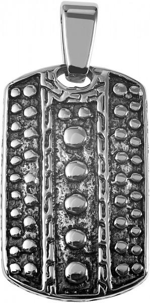Akzent Edelstahlanhänger in silberfarbig/schwarz, Breite: 23 mm / Höhe: 37 mm