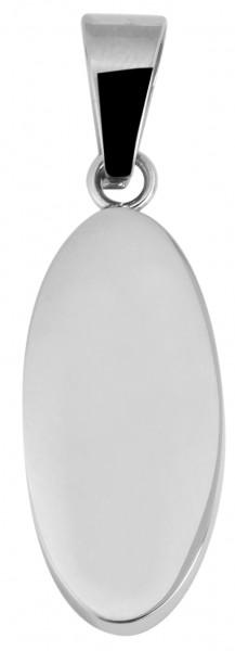 Akzent Edelstahl Gravuranhänger, oval, silberfarbig