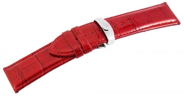 Echtleder-Uhrenarmband, rot, Krokooptik, Butterfly-Faltschließe, 26 mm