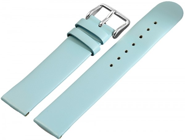 Echtleder-Uhrenarmband, hellblau, 18 mm