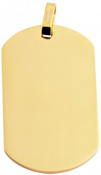 Akzent Edelstahl Gravurplatte als Anhänger mit IP Beschichtung, glänzend, Länge: 50 mm / Breite: 29