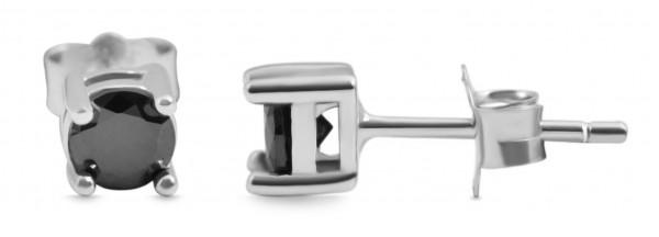 925 Echt Silber Ohrstecker mit rundem Zirkoniastein, 925/rhodiniert