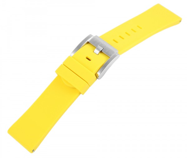 TW Steel Silikonband, 22 mm, gelb, silberf. Schließe