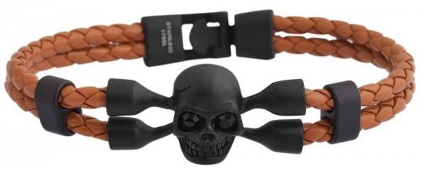 Akzent Geflochtenes Armband aus Echtleder und Edelstahl mit IP Black-Beschichtung