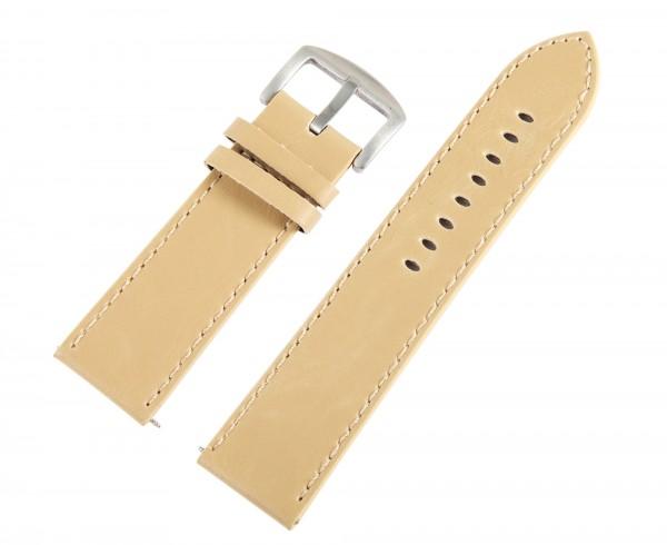 Lederimitation-Uhrenarmband, beige, 24 mm
