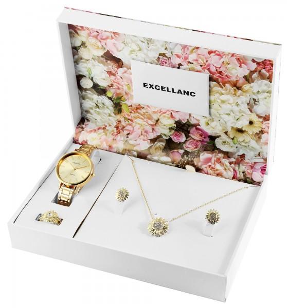 Excellanc Damenuhr Geschenkeset mit Halskette, Ring und Ohrringe
