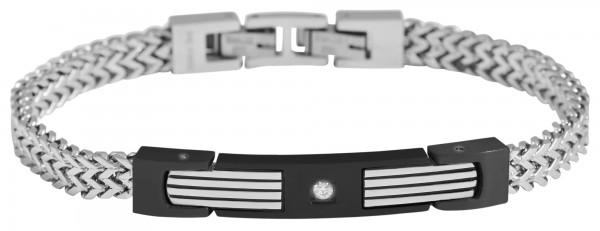 Akzent Geflochtenes Panzerarmband aus Edelstahl mit Similistein, silberfarbig