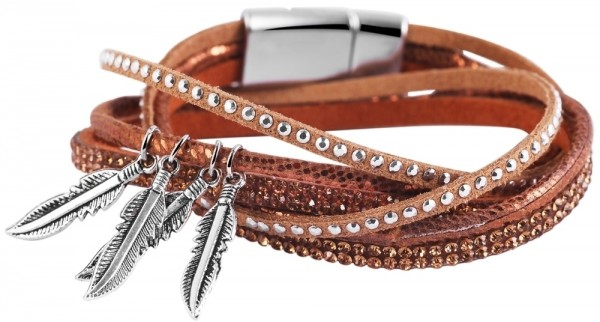 Wickelarmband aus Lederimitat und Kunststoff in Hellbraun