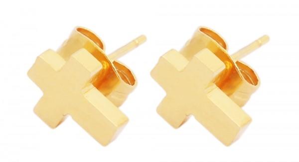 Akzent Edelstahl Ohrstecker mit Kreuz, IP Gold, goldfarbig